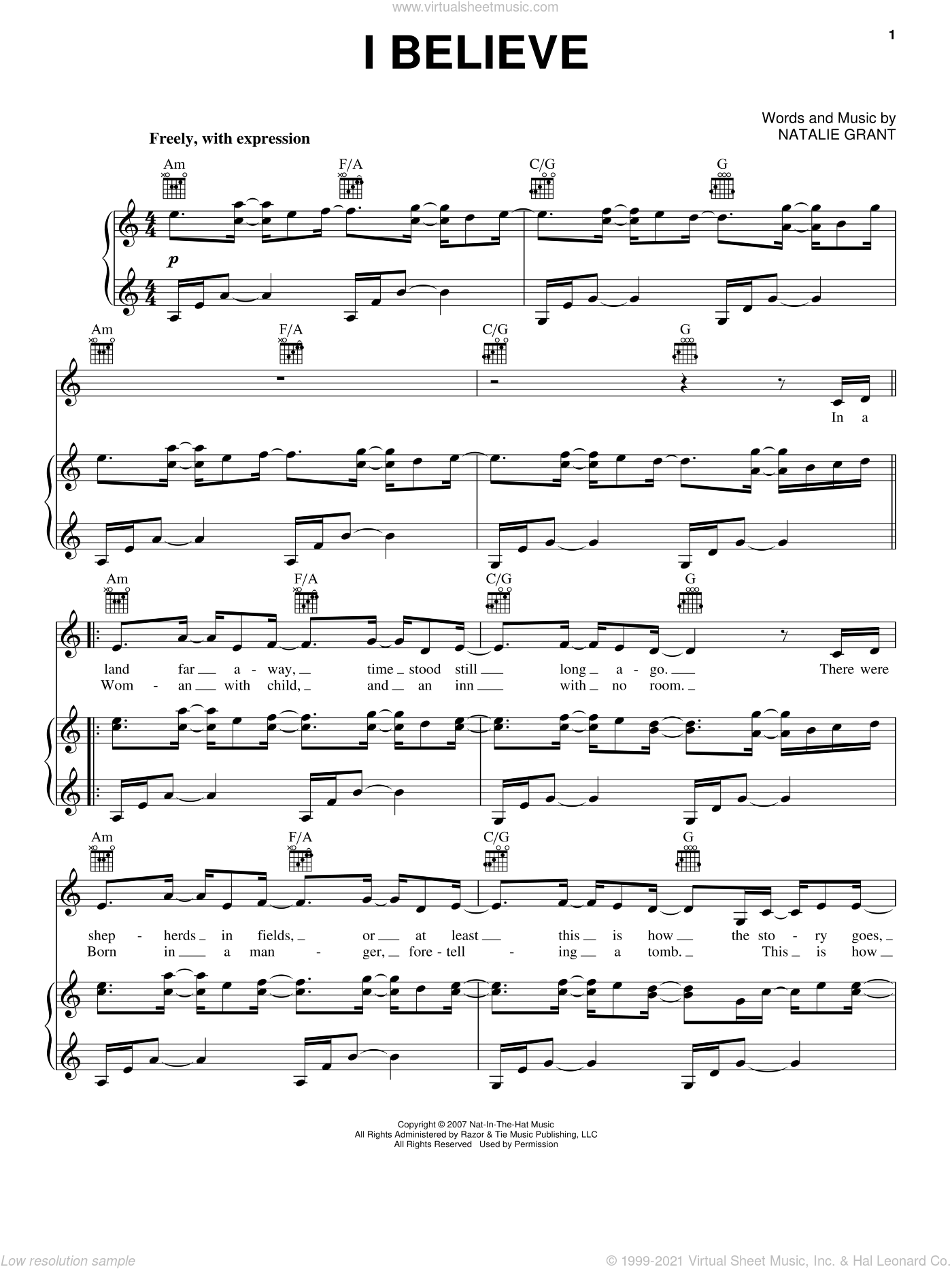 I Believe sheet music for voice, piano or guitar by Natalie Grant, intermediate skill level