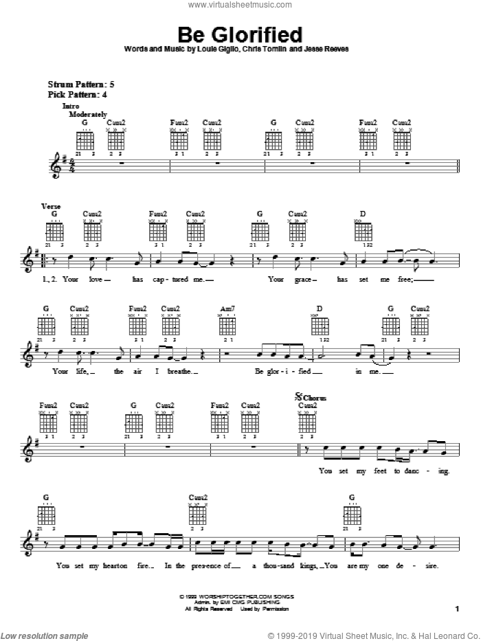 Be Glorified sheet music for guitar solo (chords) by Chris Tomlin, Tim Hughes and Jesse Reeves. Score Image Preview.