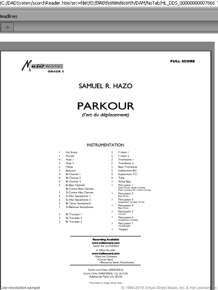 Parkour sheet music for concert band (full score) by Samuel R. Hazo