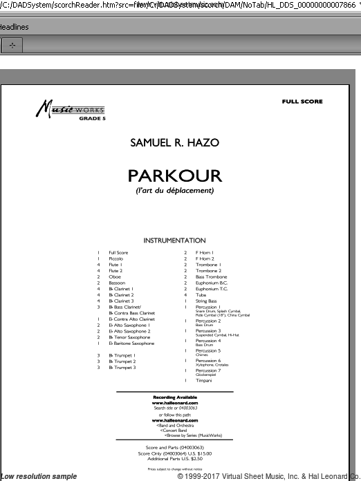Parkour (COMPLETE) sheet music for concert band by Samuel R. Hazo