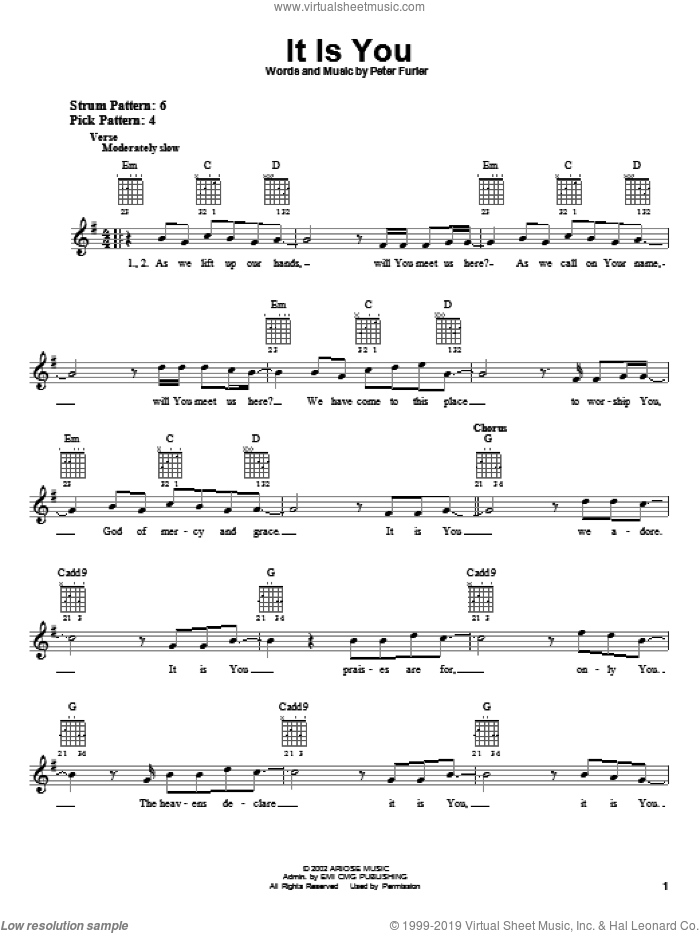 It Is You sheet music for guitar solo (chords) by Peter Furler and Newsboys. Score Image Preview.