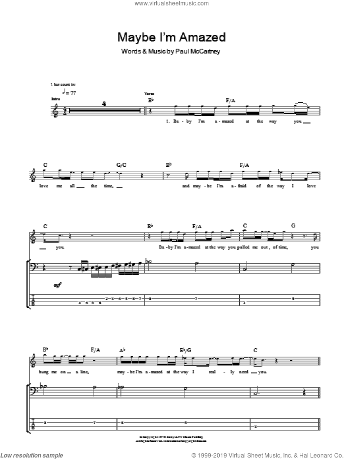 Maybe I'm Amazed sheet music for bass (tablature) (bass guitar) by Paul McCartney