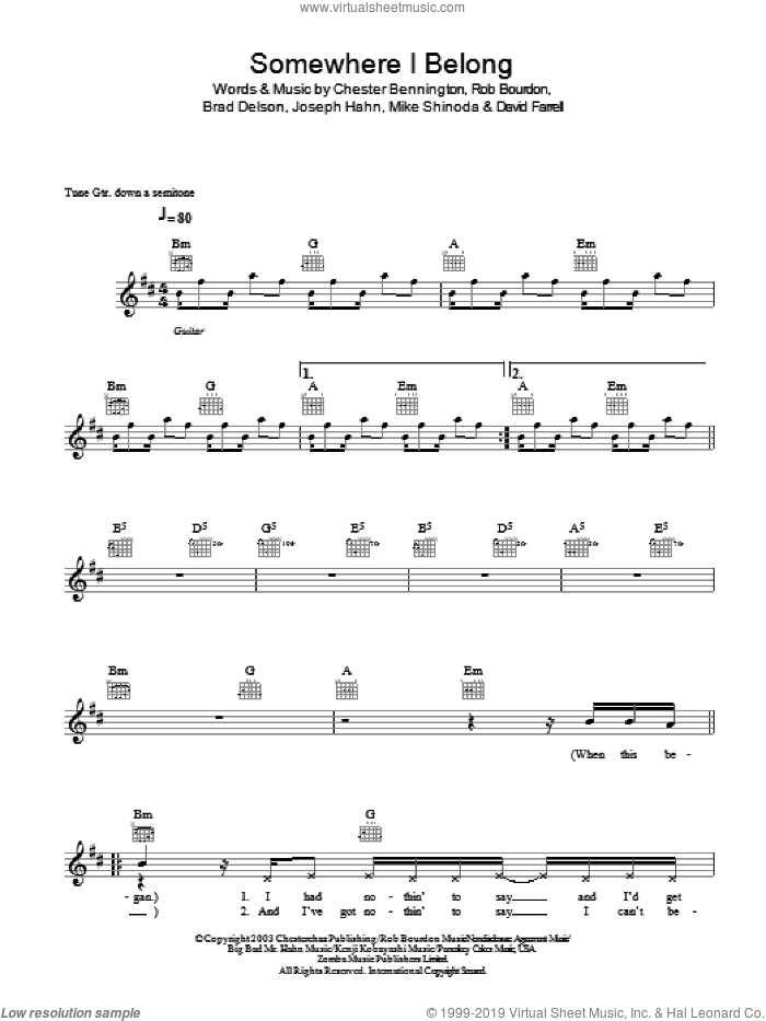 Somewhere I Belong sheet music for voice and other instruments (fake book) by Rob Bourdon, Linkin Park, Brad Delson and Mike Shinoda. Score Image Preview.