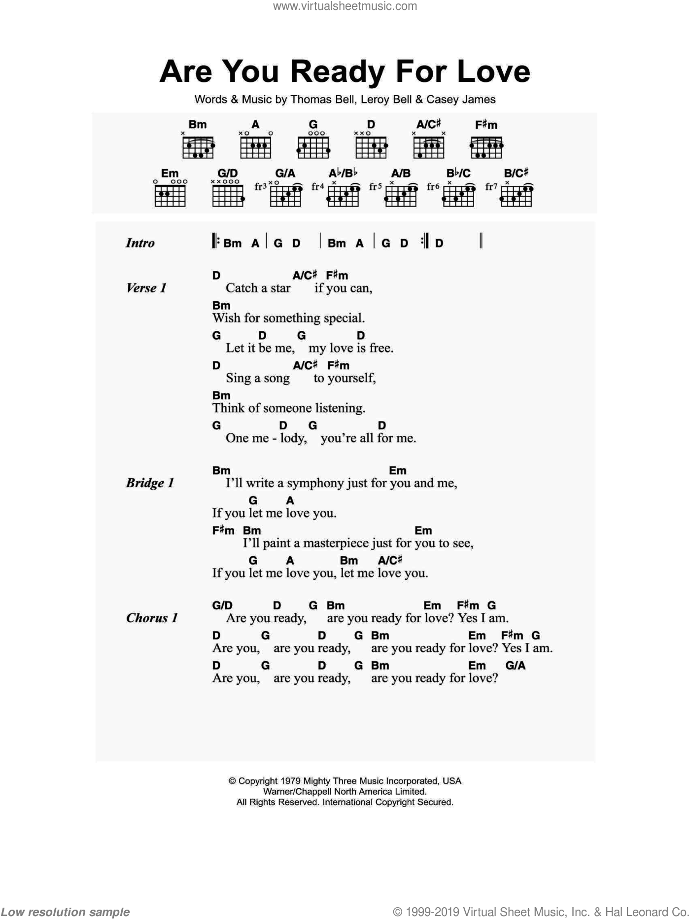 Are You Ready For Love sheet music for guitar (chords) by Thomas Bell, Elton John, Casey James and Leroy Bell. Score Image Preview.