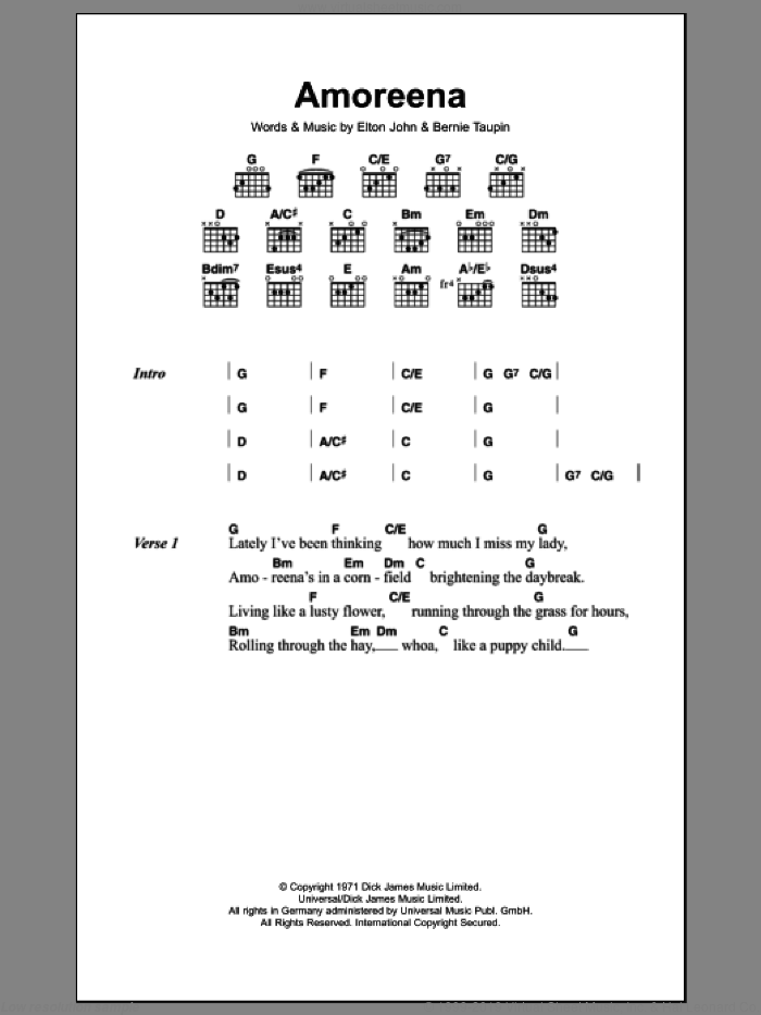 Amoreena sheet music for guitar (chords) by Elton John and Bernie Taupin. Score Image Preview.