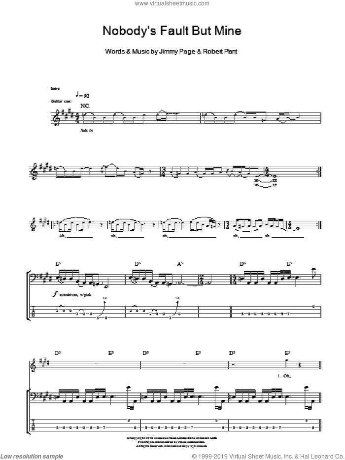 Nobody's Fault But Mine sheet music for bass (tablature) (bass guitar) by Led Zeppelin, Jimmy Page and Robert Plant, intermediate skill level