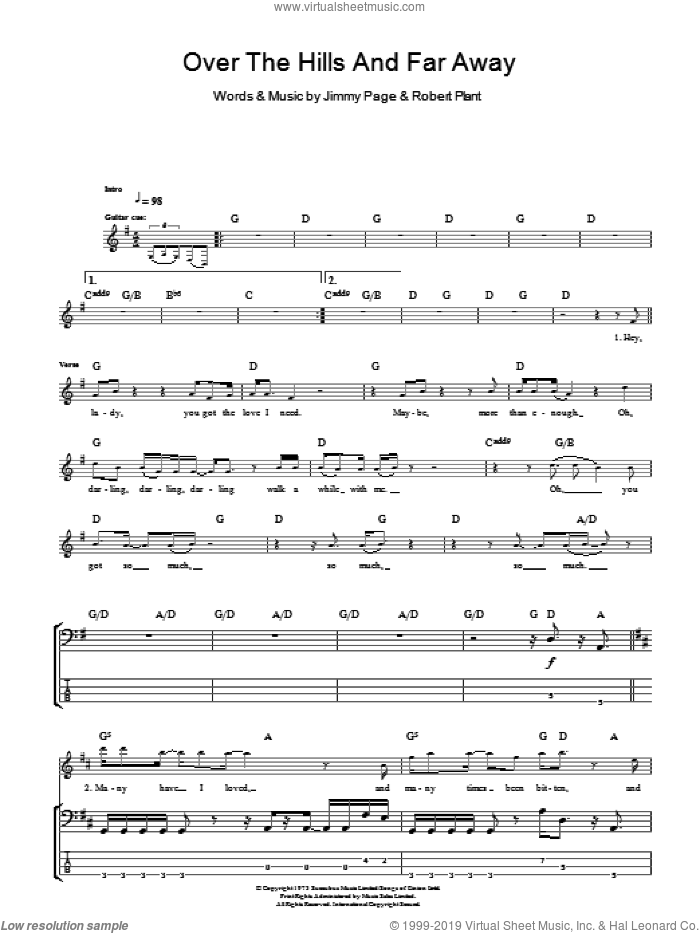 Over The Hills And Far Away sheet music for bass (tablature) (bass guitar) by Led Zeppelin, Jimmy Page and Robert Plant, intermediate skill level