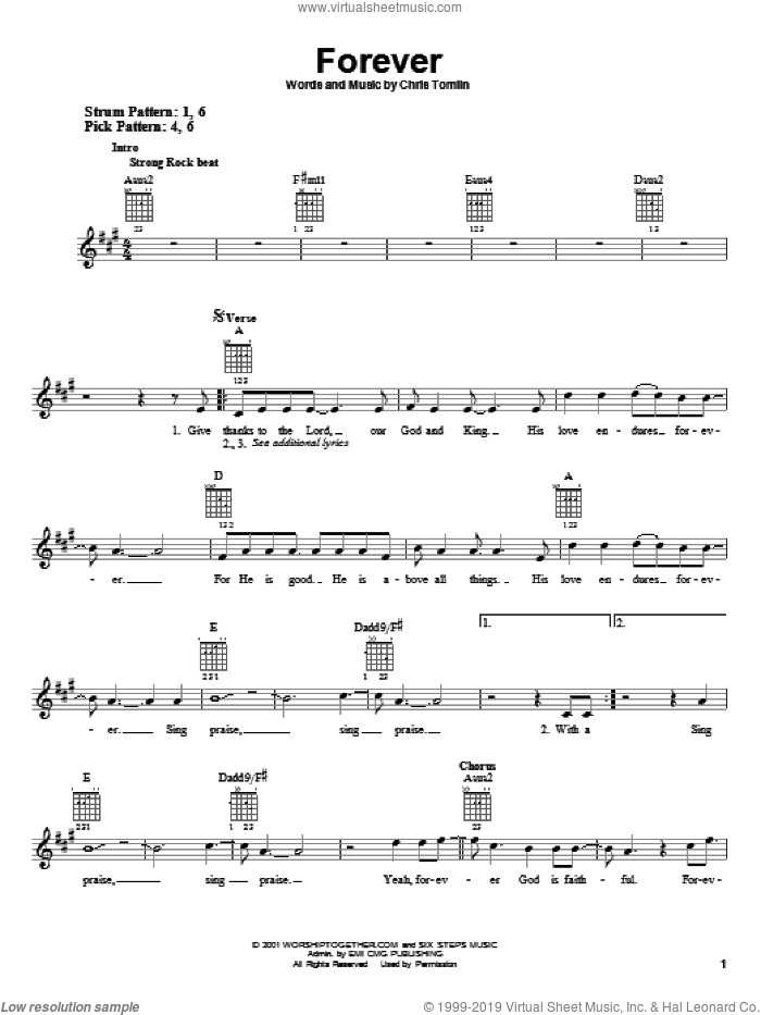 Forever sheet music for guitar solo (chords) by Chris Tomlin, easy guitar (chords)