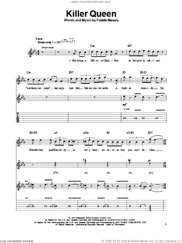 Killer Queen sheet music for guitar (tablature, play-along) by Freddie Mercury and Queen. Score Image Preview.