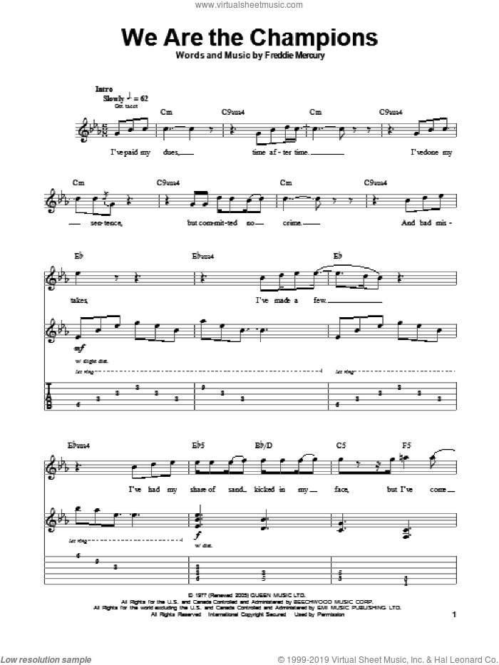 We Are The Champions sheet music for guitar (tablature, play-along) by Queen and Freddie Mercury, intermediate. Score Image Preview.