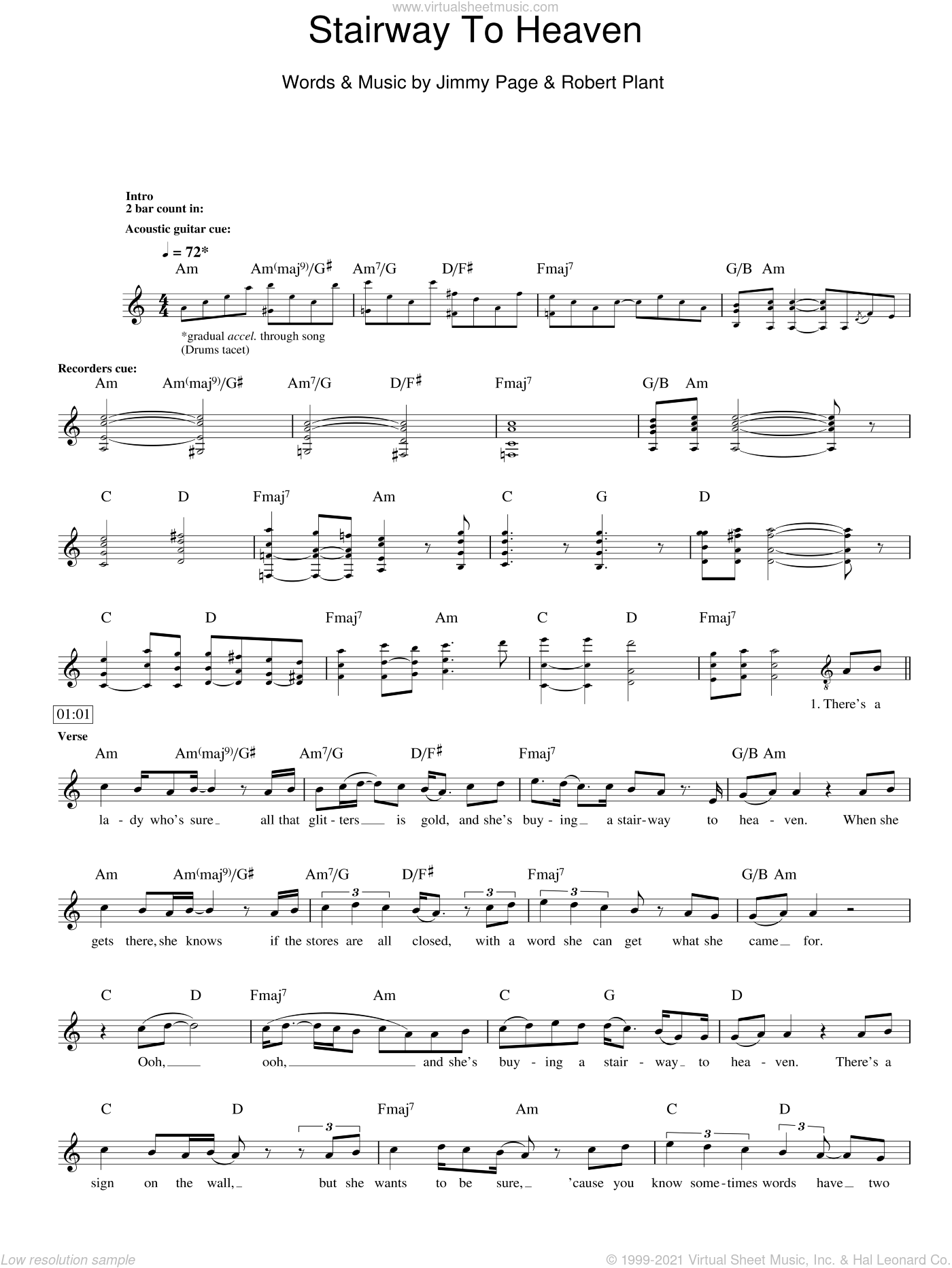 Stairway To Heaven sheet music for voice and other instruments (fake book) by Led Zeppelin, Rodrigo y Gabriela, Jimmy Page and Robert Plant, intermediate skill level