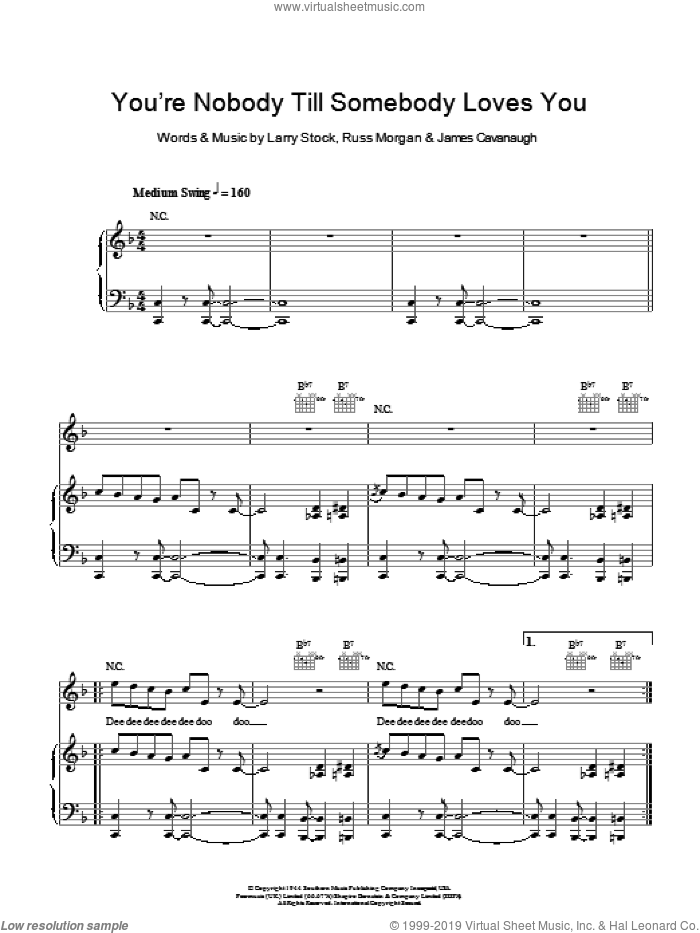 You're Nobody 'Til Somebody Loves You sheet music for voice, piano or guitar by Jamie Cullum, James Cavanaugh, Larry Stock and Russ Morgan, intermediate skill level