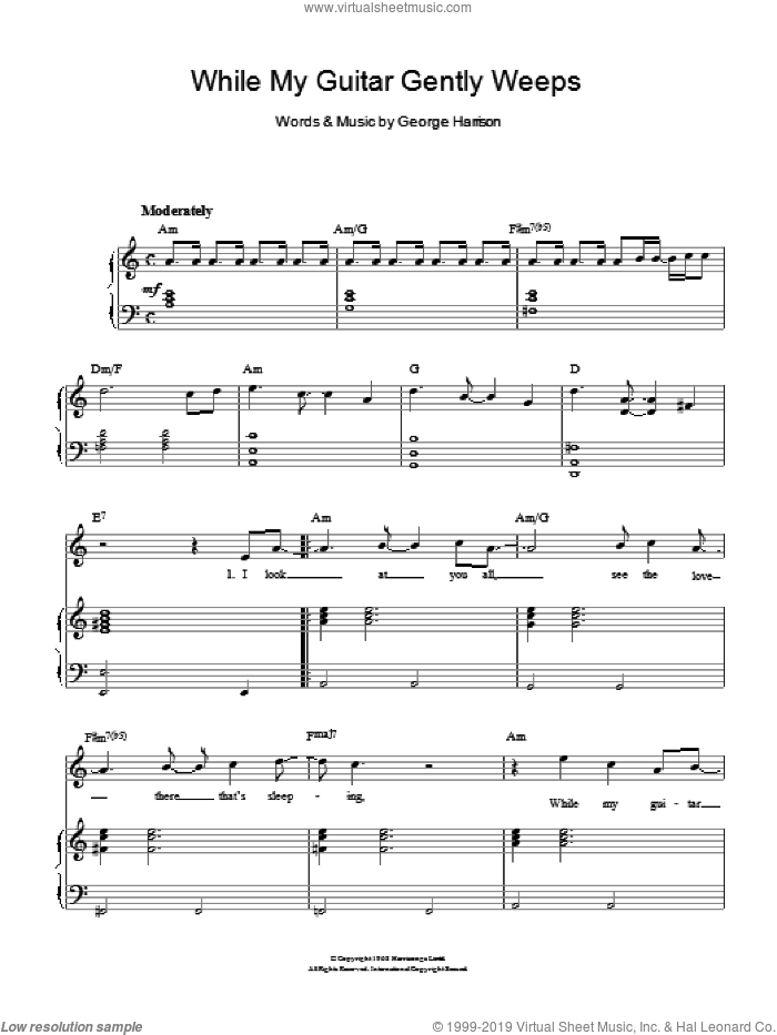 While My Guitar Gently Weeps sheet music for voice, piano or guitar by The Beatles and George Harrison, intermediate skill level