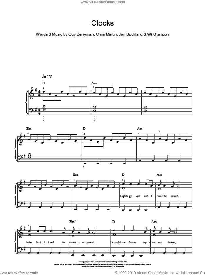 Clocks sheet music for piano solo by Will Champion, Coldplay, Chris Martin, Guy Berryman and Jon Buckland. Score Image Preview.
