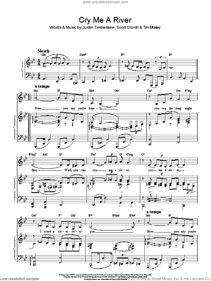 Cry Me A River sheet music for voice and piano by Justin Timberlake, Scott Storch and Tim Mosley, intermediate skill level
