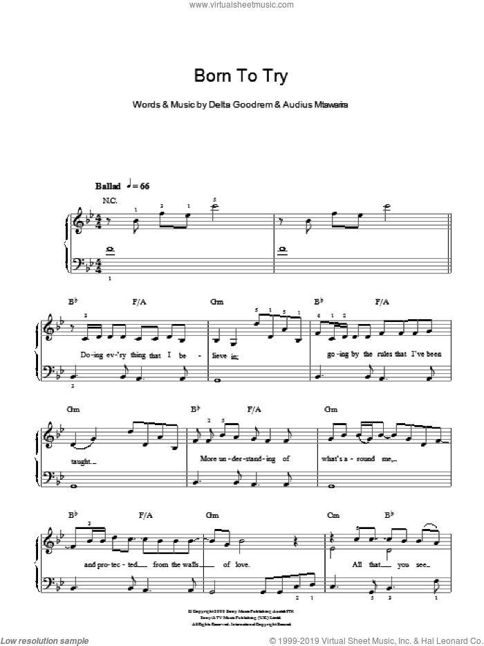 Born To Try sheet music for piano solo by Delta Goodrem and Audius Mtawarira, easy skill level