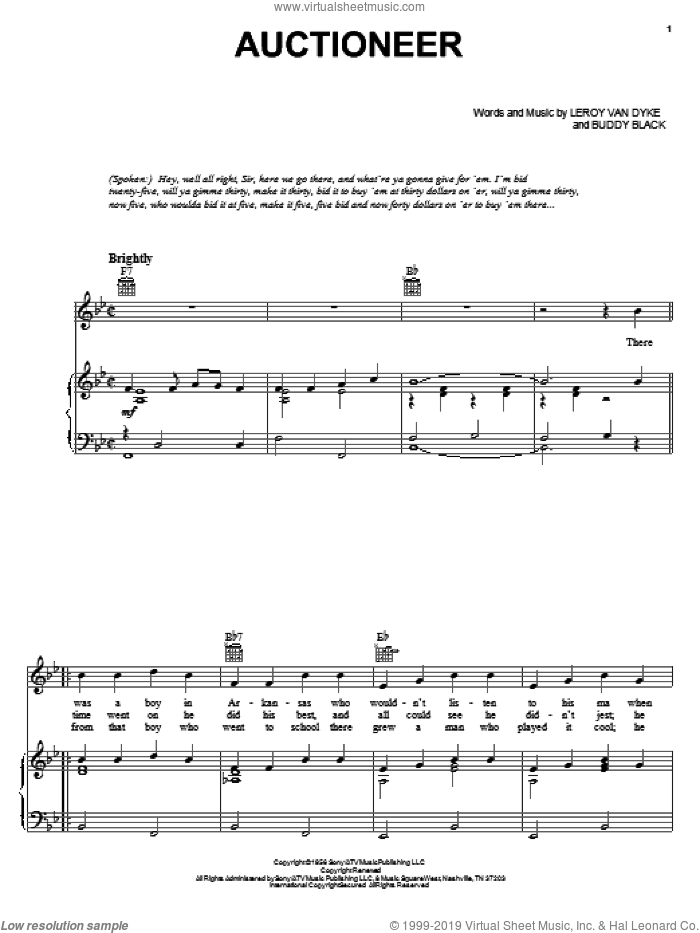 Auctioneer sheet music for voice, piano or guitar by Leroy Van Dyke and Buddy Black, intermediate skill level