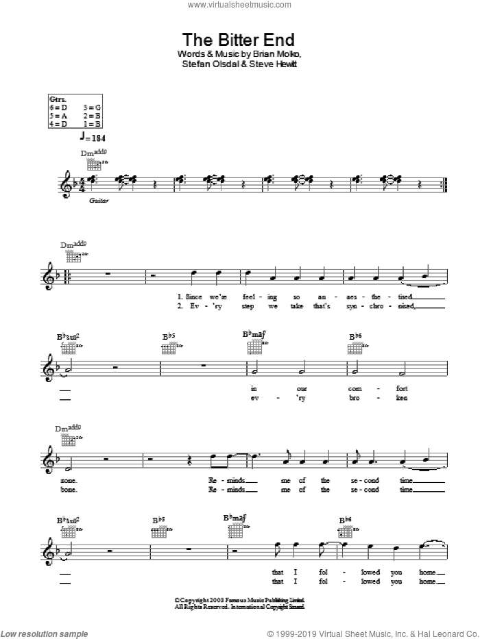 The Bitter End sheet music for voice and other instruments (fake book) by Steve Hewitt, Brian Molko and Stefan Olsdal. Score Image Preview.