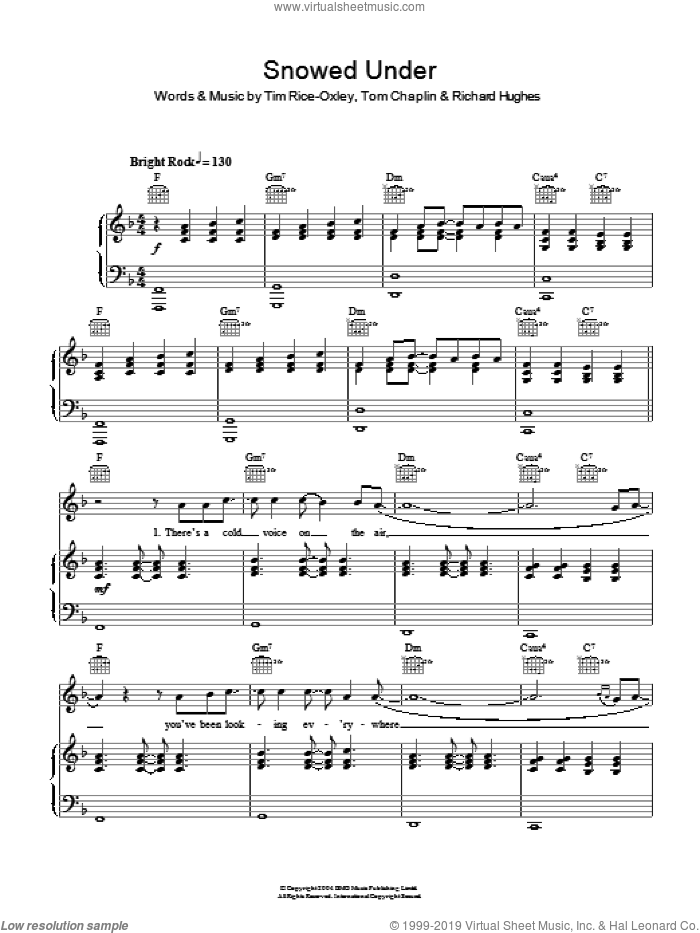 Snowed Under sheet music for voice, piano or guitar by Tim Rice-Oxley, Richard Hughes and Tom Chaplin, intermediate skill level