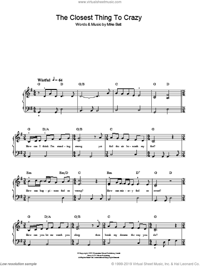 The Closest Thing To Crazy sheet music for piano solo (chords) by Mike Batt