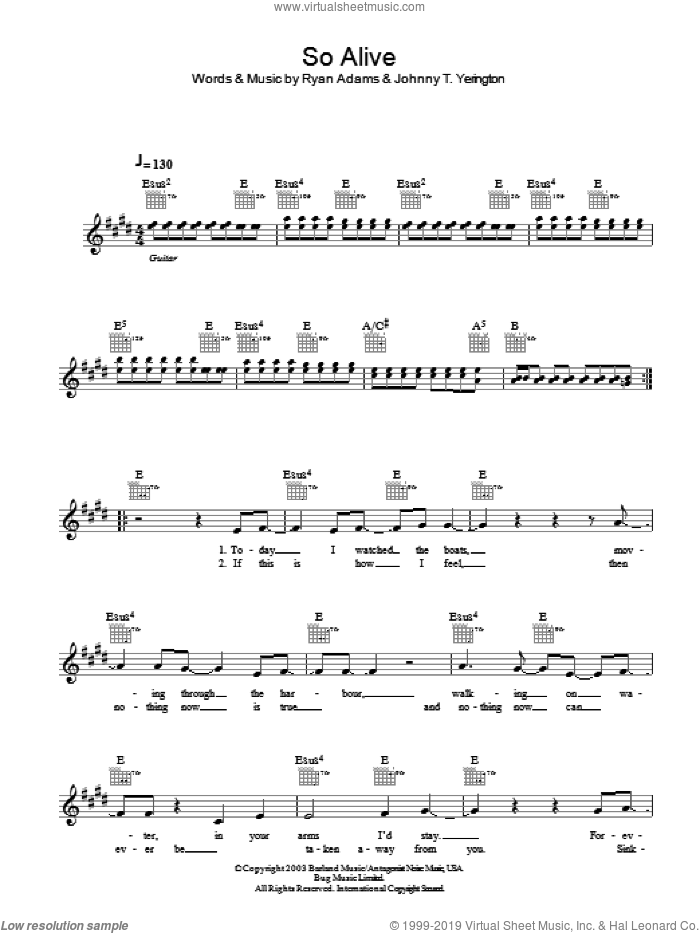 So Alive sheet music for voice and other instruments (fake book) by Ryan Adams and Johnny T. Yerington, intermediate skill level