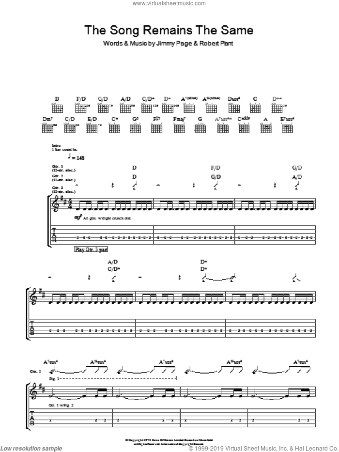 The Song Remains The Same sheet music for guitar (tablature) by Led Zeppelin, Jimmy Page and Robert Plant, intermediate skill level
