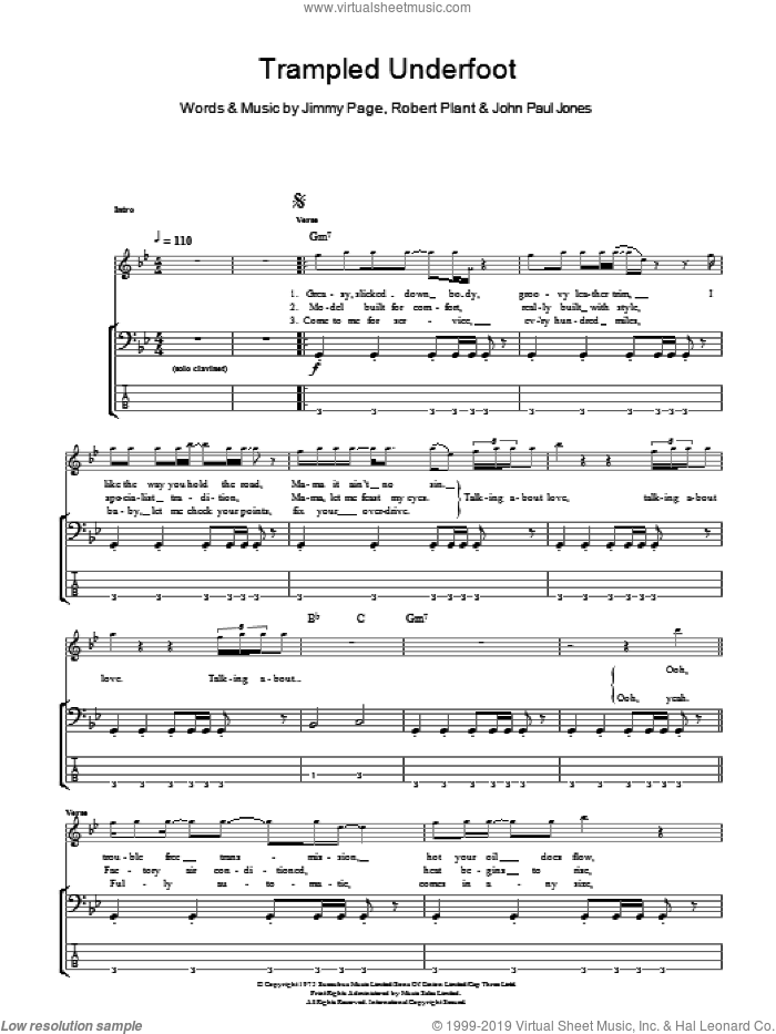 Trampled Underfoot sheet music for bass (tablature) (bass guitar) by Led Zeppelin, Jimmy Page, John Paul Jones and Robert Plant, intermediate skill level