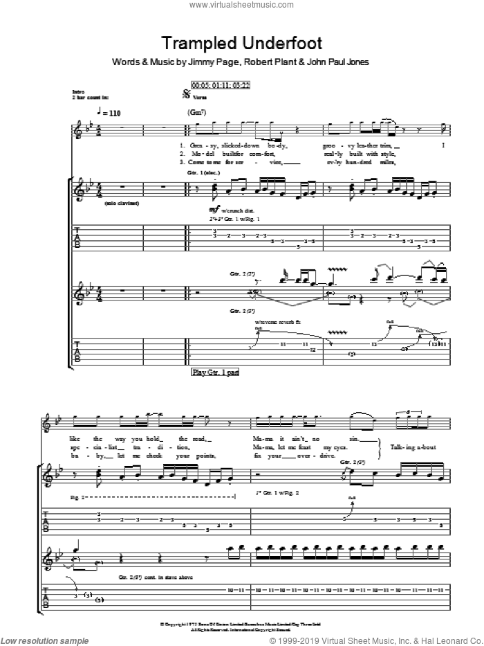 Trampled Underfoot sheet music for guitar (tablature) by Led Zeppelin, Jimmy Page and Robert Plant, intermediate. Score Image Preview.