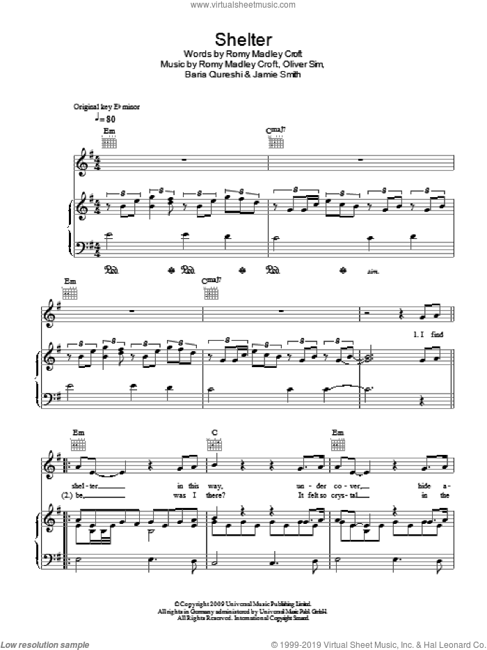 Shelter sheet music for voice, piano or guitar by Birdy, The XX, Baria Qureshi, Jamie Smith, Oliver Sim and Romy Madley Croft, intermediate skill level
