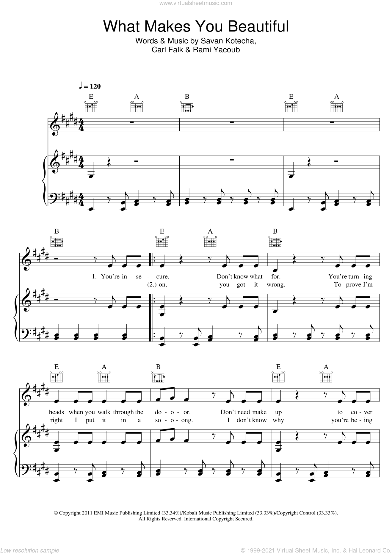 What Makes You Beautiful sheet music for voice, piano or guitar by Savan Kotecha