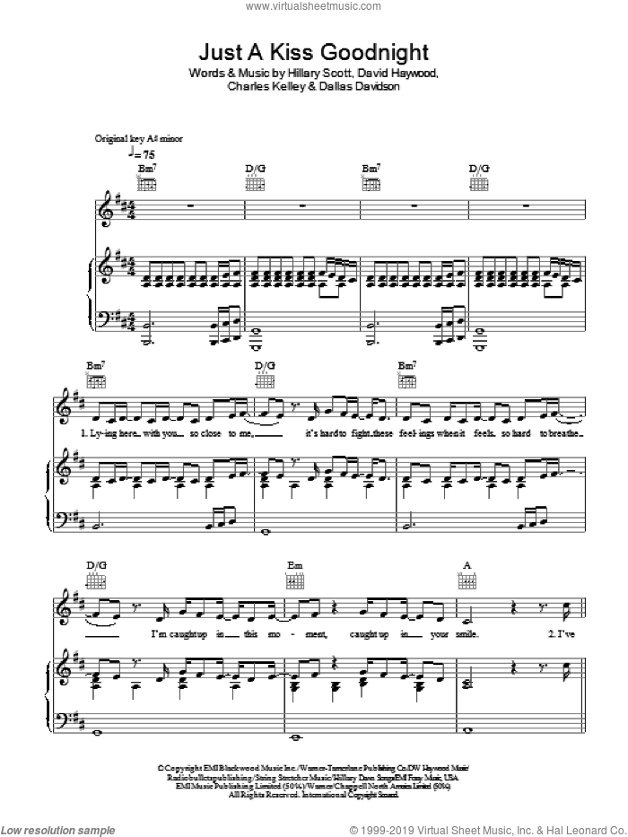 Just A Kiss Goodnight sheet music for voice, piano or guitar by Hillary Scott, Lady Antebellum, Charles Kelley and Dallas Davidson. Score Image Preview.