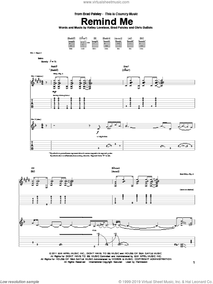 Remind Me sheet music for guitar (tablature) by Brad Paisley & Carrie Underwood, Brad Paisley, Chris DuBois and Kelley Lovelace, intermediate skill level