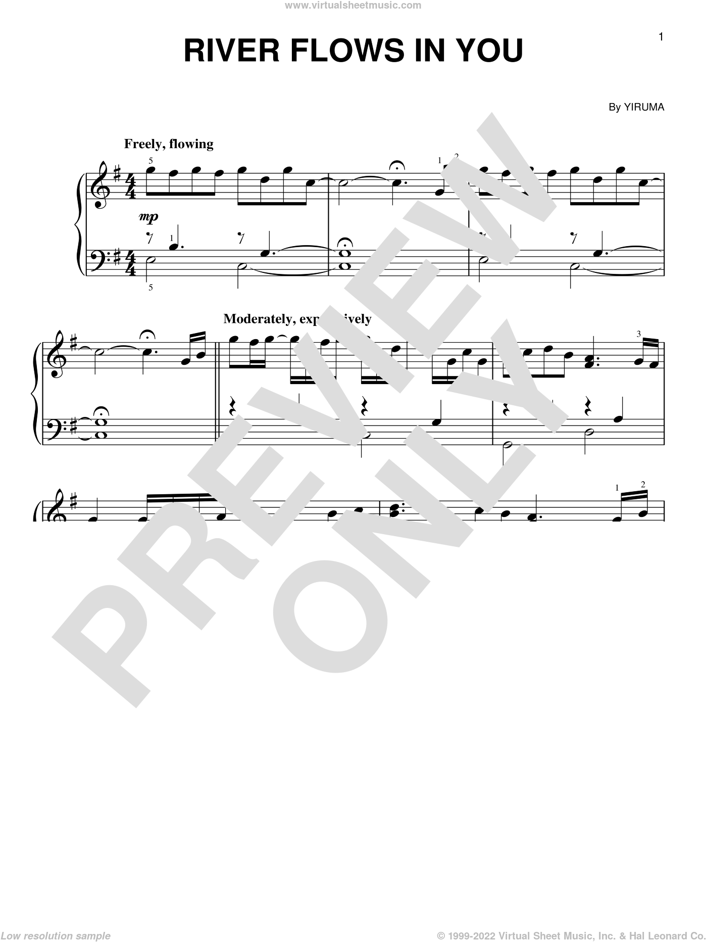 River Flows In You sheet music for piano solo by Yiruma, intermediate skill level