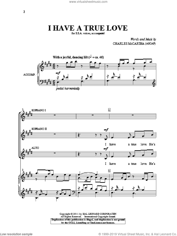 I Have A True Love sheet music for choir and piano (SSA) by Charles McCartha