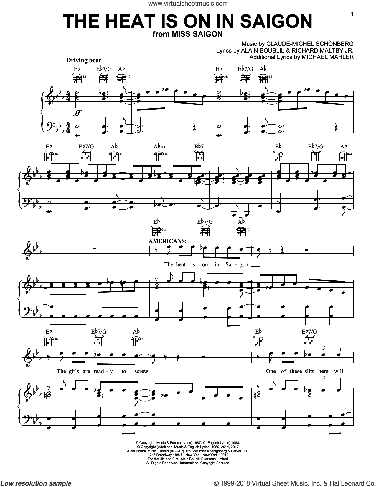 The Heat Is On In Saigon sheet music for voice, piano or guitar by Claude-Michel Schonberg, Miss Saigon (Musical), Alain Boublil and Richard Maltby, Jr., intermediate skill level