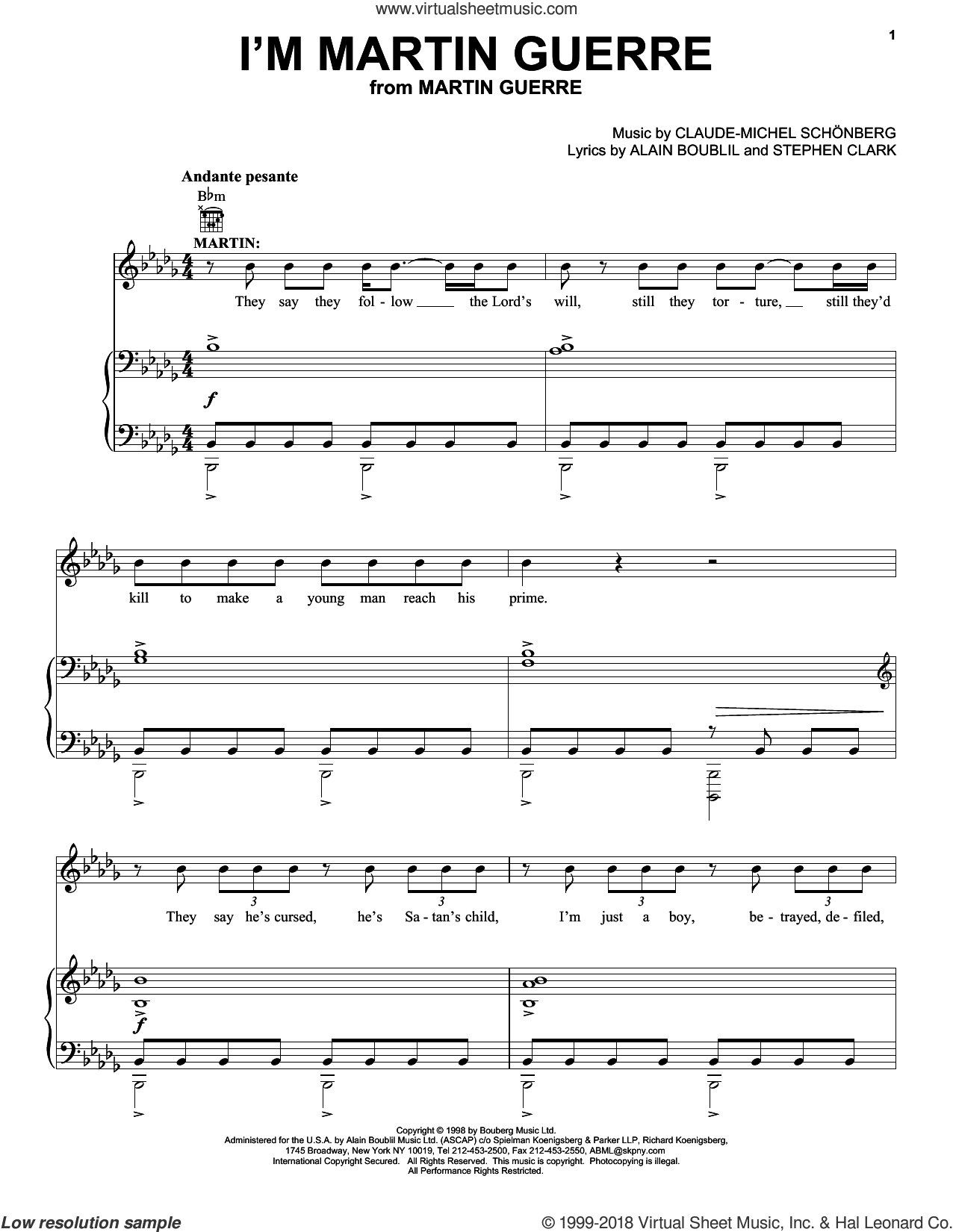 I'm Martin Guerre (from Martin Guerre) sheet music for voice, piano or guitar by Claude-Michel Schonberg, Martin Guerre (Musical), Alain Boublil, Boublil and Schonberg and Steve Clark, intermediate skill level