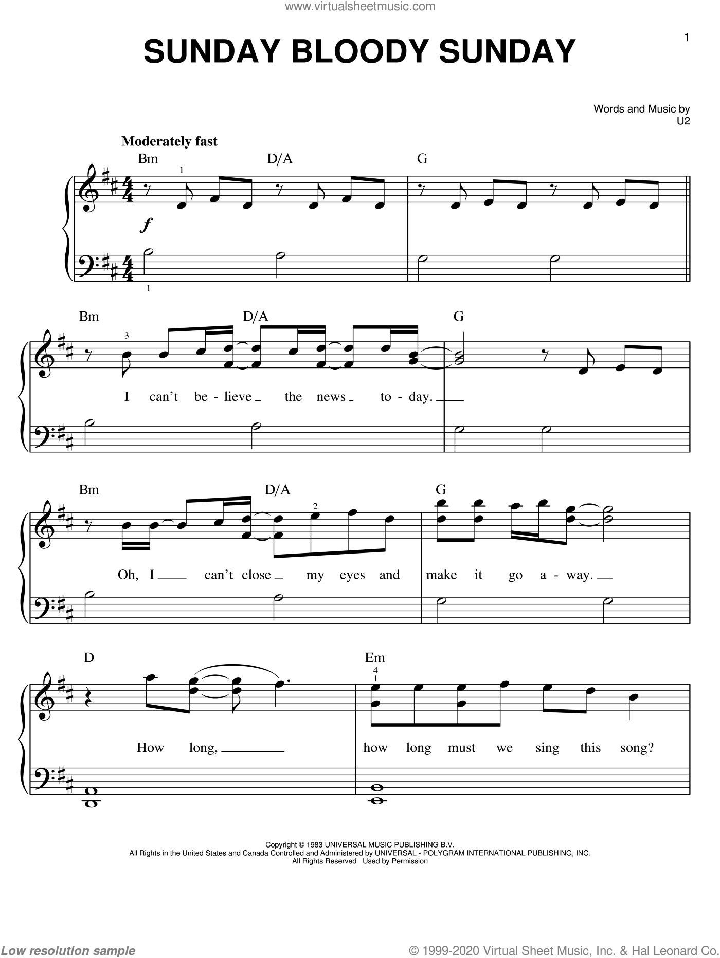 Sunday Bloody Sunday sheet music for piano solo by U2, easy skill level