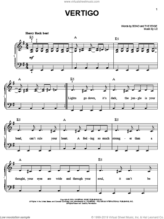 Vertigo sheet music for piano solo by U2, Bono and The Edge, easy skill level