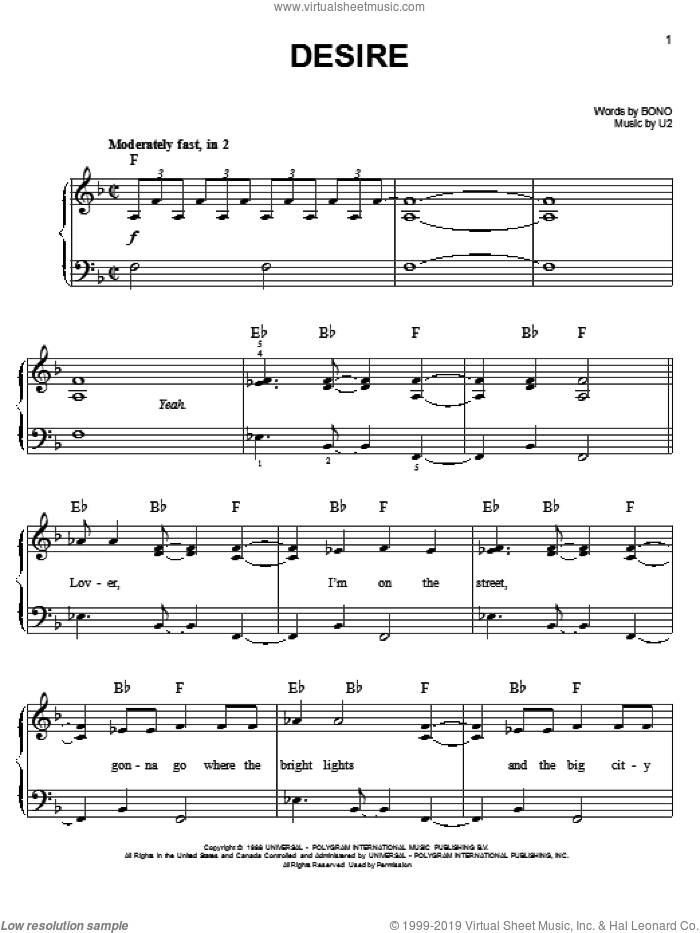 Desire sheet music for piano solo by U2 and Bono, easy. Score Image Preview.