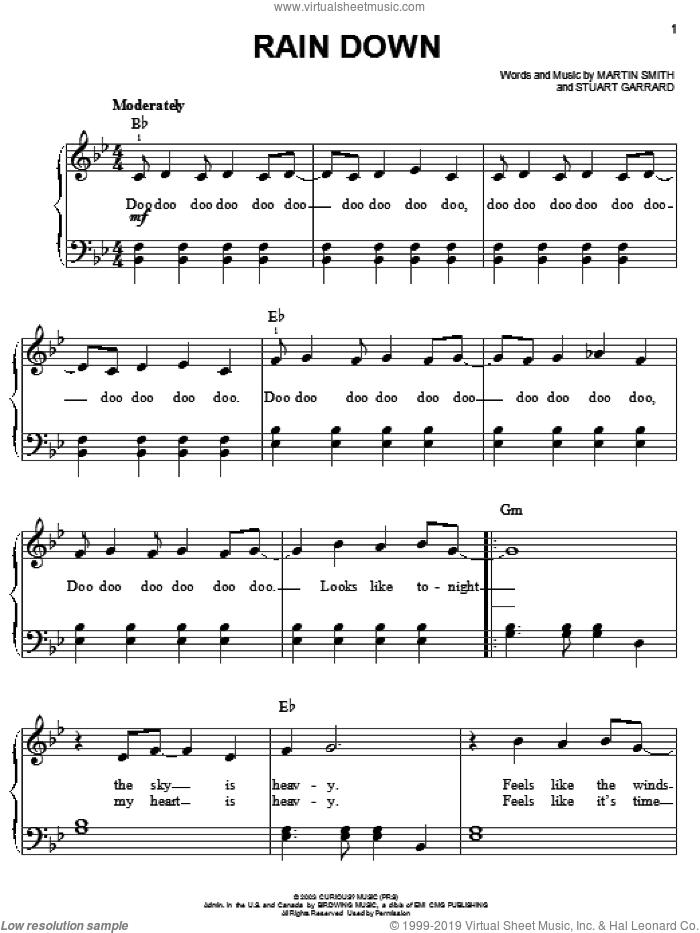 Rain Down sheet music for piano solo by Delirious?, Martin Smith and Stuart Garrard, easy skill level