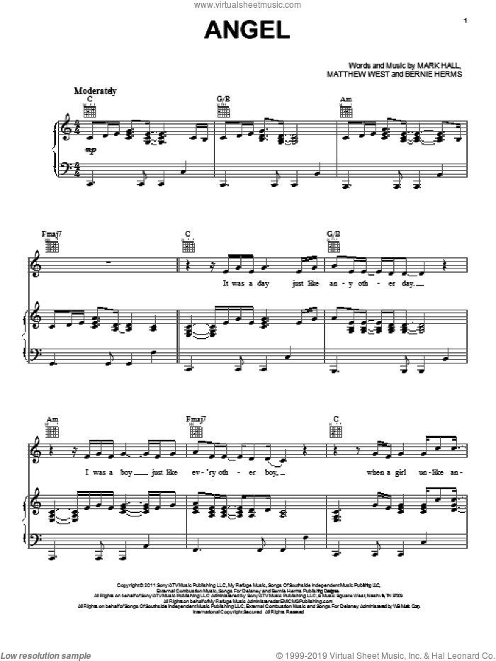 Angel sheet music for voice, piano or guitar by Casting Crowns, Bernie Herms, Mark Hall and Matthew West, wedding score, intermediate voice, piano or guitar. Score Image Preview.