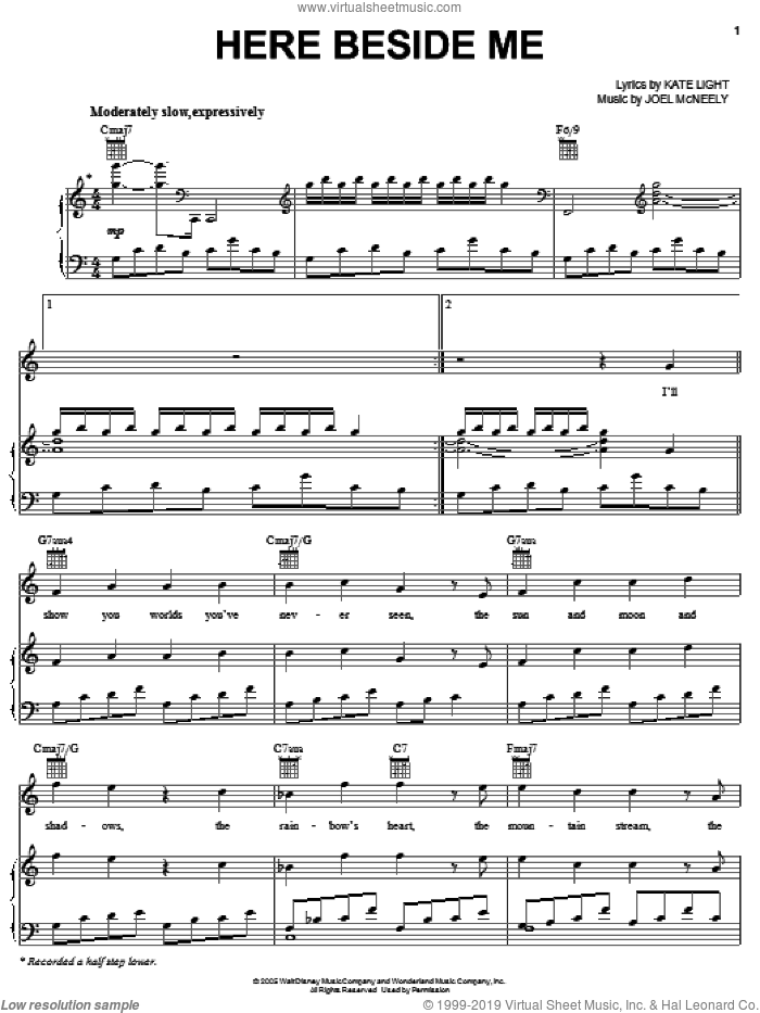 Here Beside Me sheet music for voice, piano or guitar by Hayley Westenra, Mulan II (Movie), Joel McNeely and Kate Light, intermediate skill level