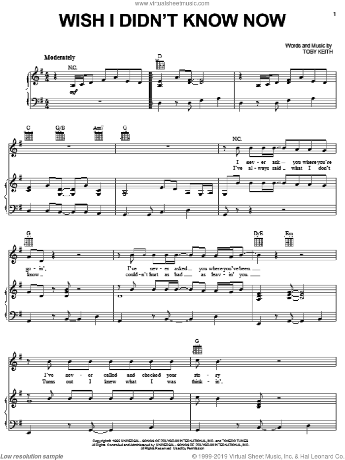 Wish I Didn't Know Now sheet music for voice, piano or guitar by Toby Keith, intermediate skill level