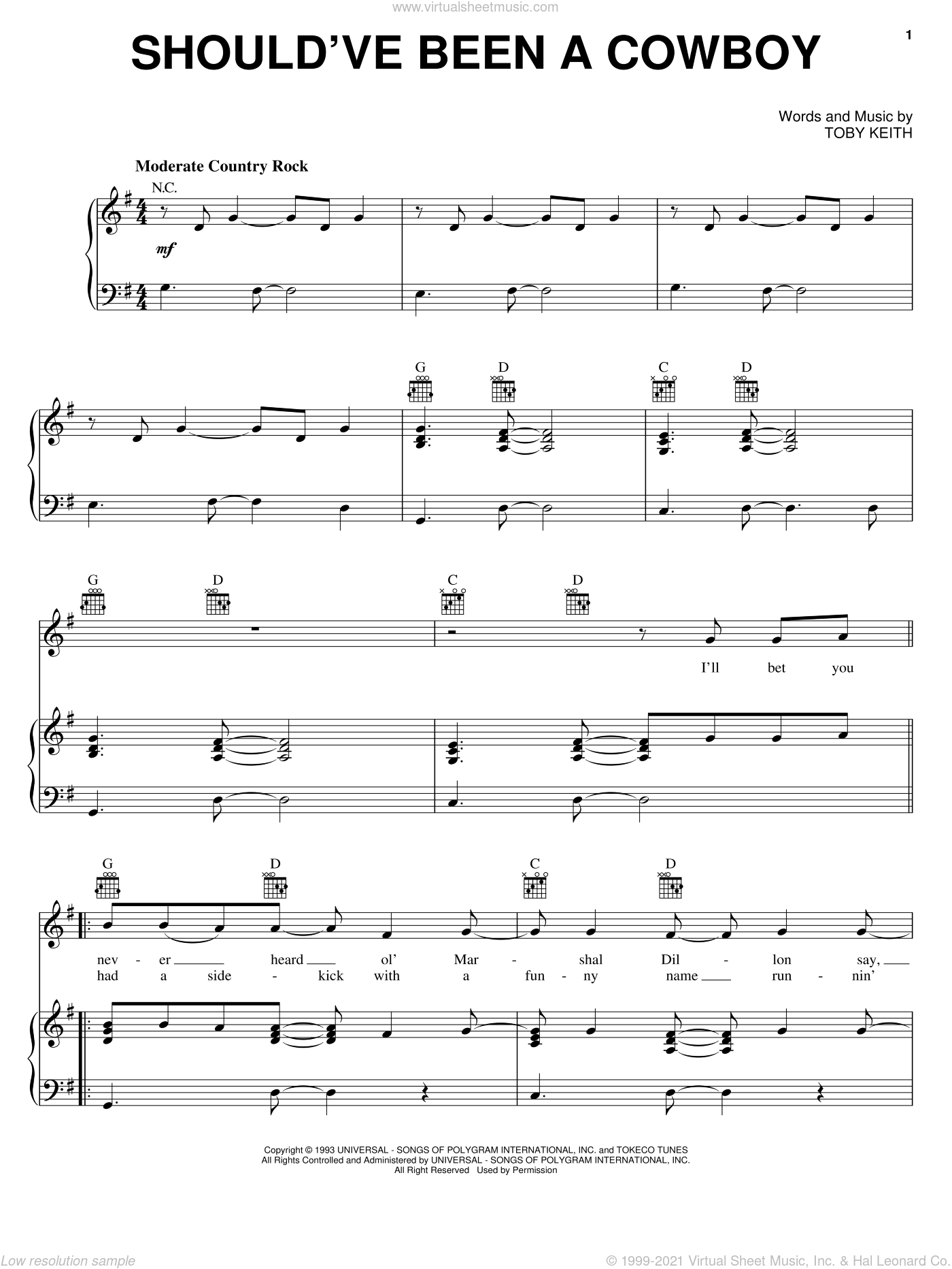 Should've Been A Cowboy sheet music for voice, piano or guitar by Toby Keith, intermediate skill level