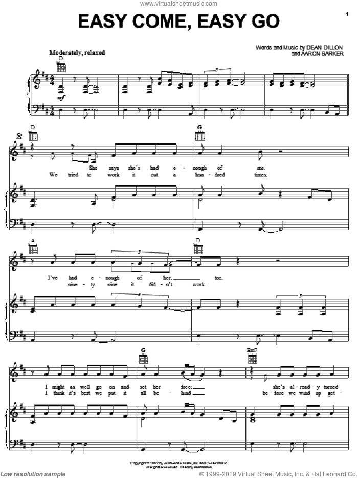 Easy Come, Easy Go sheet music for voice, piano or guitar by Dean Dillon
