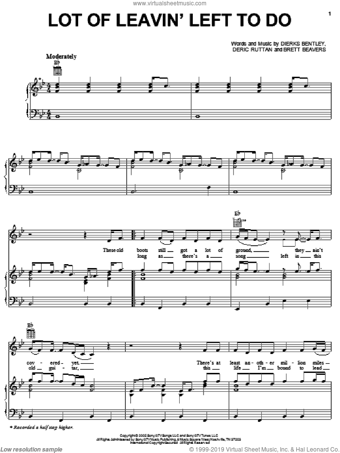 Lot Of Leavin' Left To Do sheet music for voice, piano or guitar by Dierks Bentley and Brett Beavers. Score Image Preview.