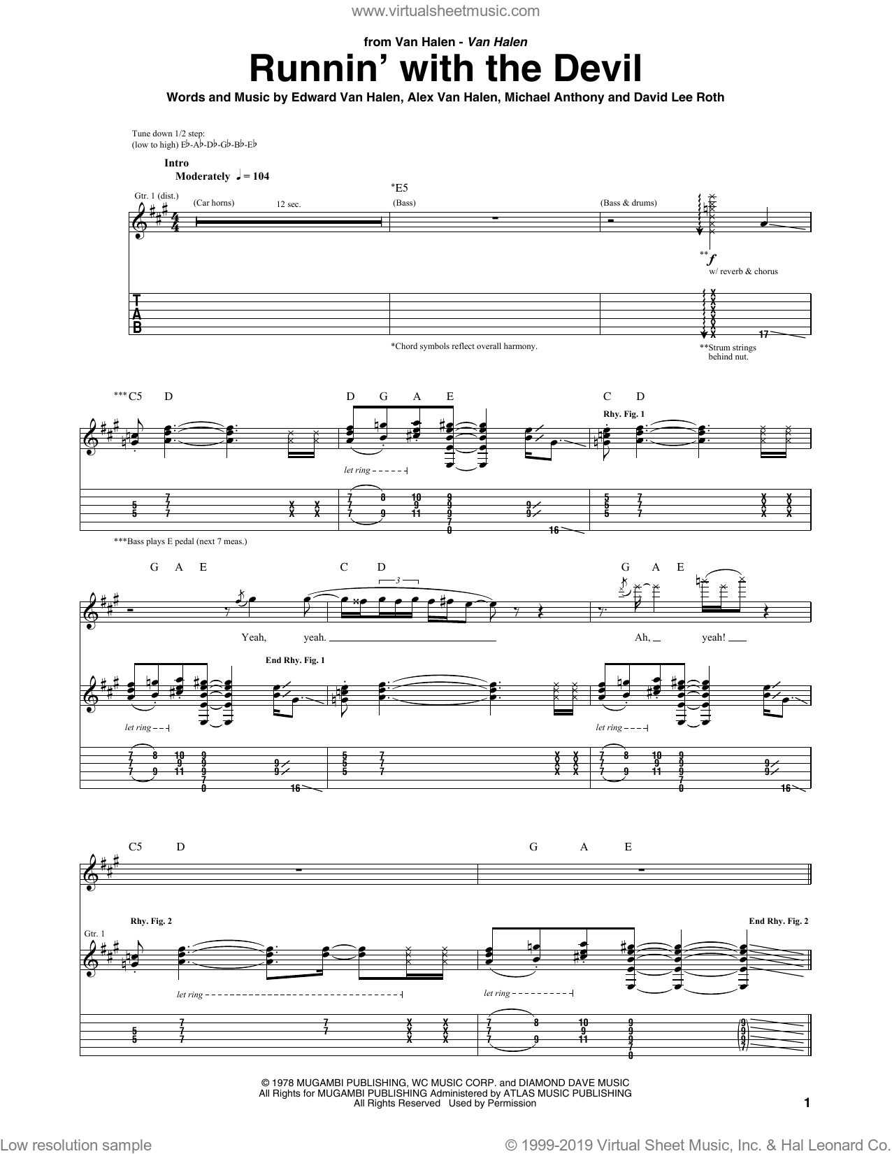 Runnin' With The Devil sheet music for guitar (tablature) by Edward Van Halen, Alex Van Halen, David Lee Roth and Michael Anthony. Score Image Preview.