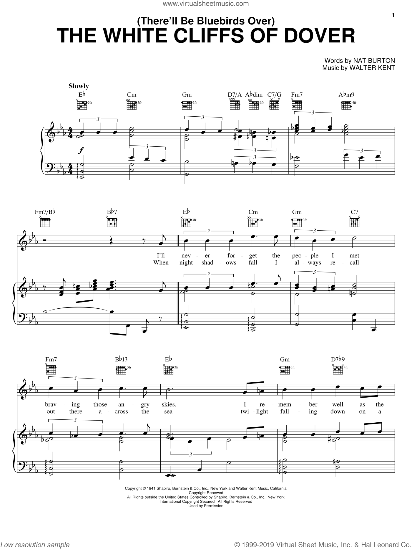 (There'll Be Bluebirds Over) The White Cliffs Of Dover sheet music for voice, piano or guitar by Nat Burton and Walter Kent, intermediate skill level