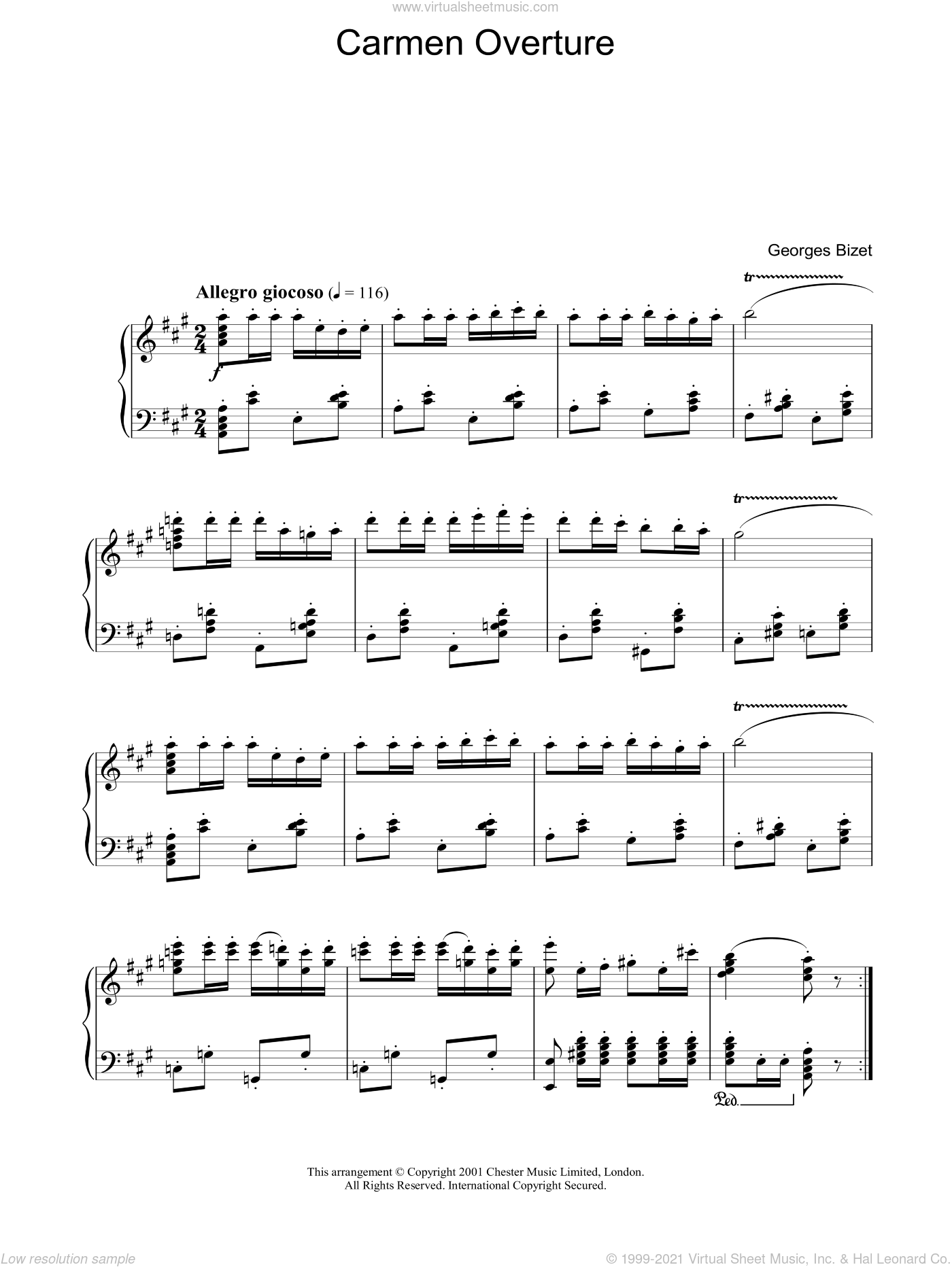 Overture from Carmen sheet music for piano solo by Georges Bizet