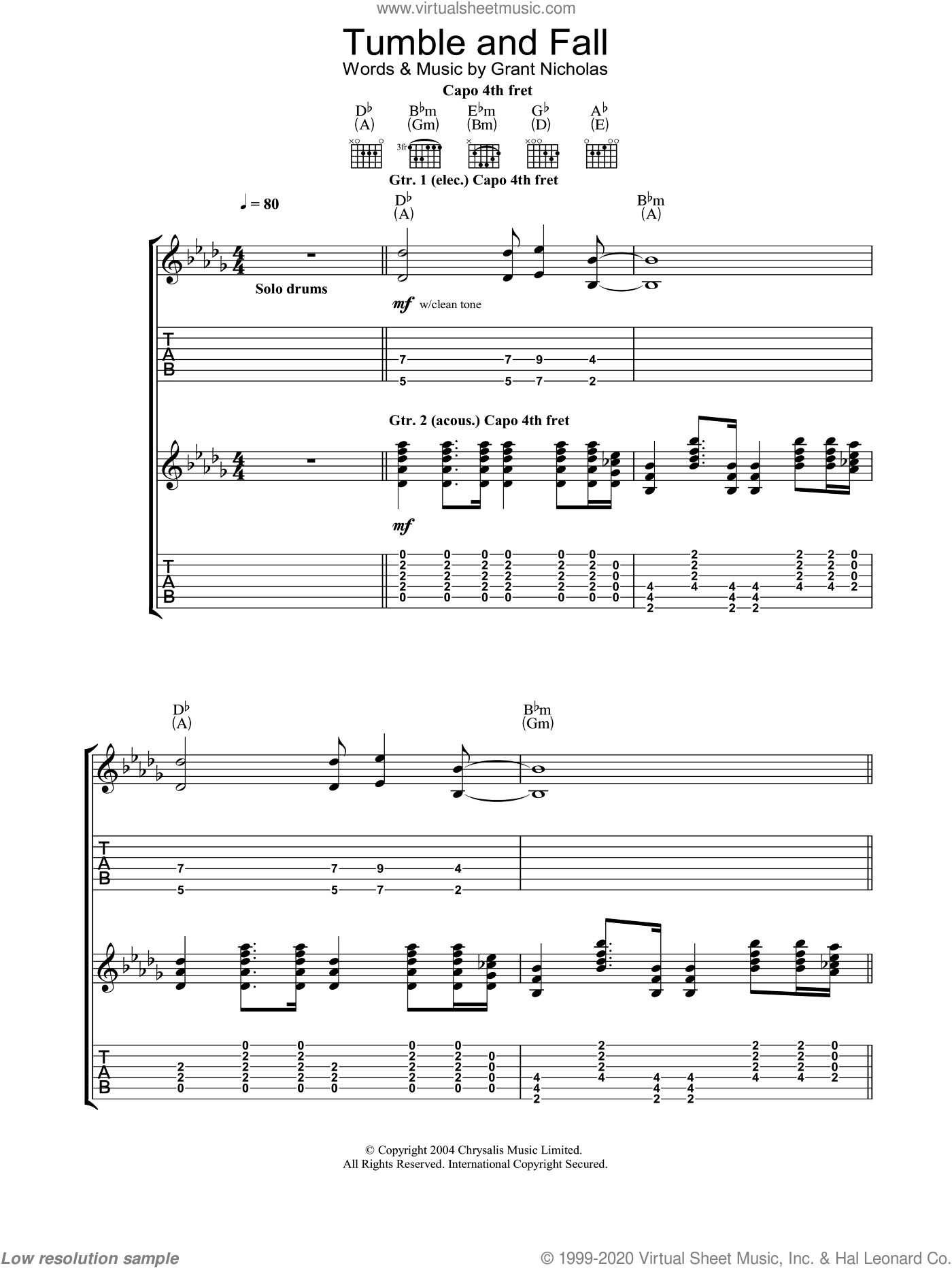 Tumble And Fall sheet music for guitar (tablature) by Nicholas Grant, Feeder and Grant Nicholas. Score Image Preview.